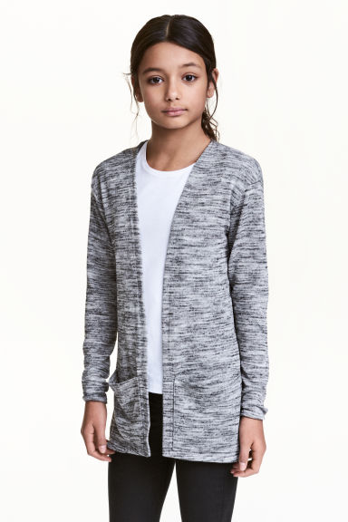 Fine-knit cardigan - Grey marl - Kids | H&M