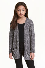 Fine-knit cardigan - Black marl - Kids | H&M 1