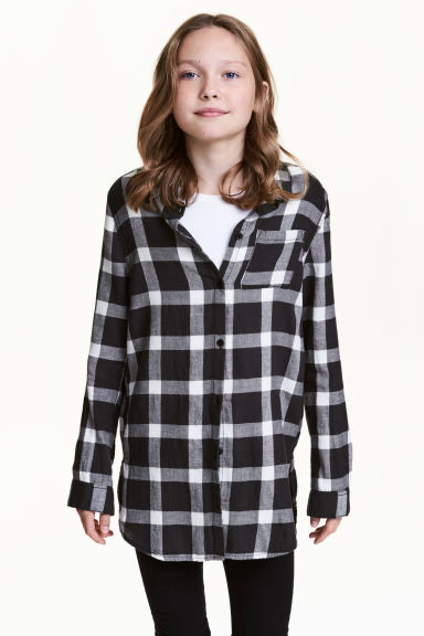 Long flannel shirt - Dark grey/Checked - Kids | H&M CN 1