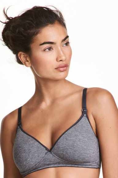 MAMA 2-pack nursing bras - Dark grey/Black - Ladies | H&M CN 1