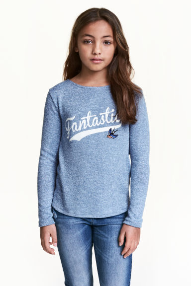 Fine-knit jumper - Blue marl - Kids | H&M CN 1
