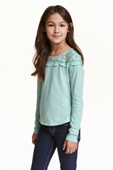 Top with a lace yoke - Mint green -  | H&M 1