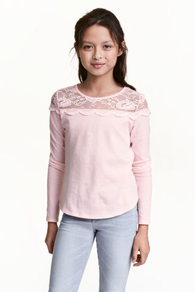 Top with a lace yoke - Light pink -  | H&M 1