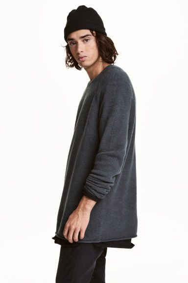 Fine-knit jumper - Dark grey - Men | H&M
