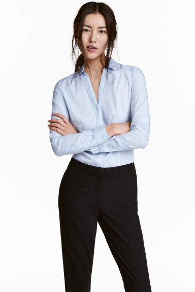 Fitted shirt - Light blue - Ladies | H&M 1