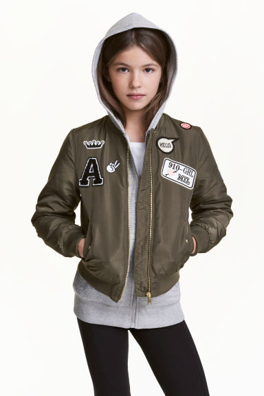 Padded bomber jacket - Dark khaki green - Kids | H&M CN 1