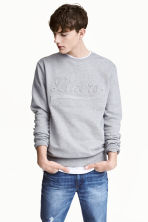 Sweat - Gris chiné/texte - HOMME | H&M FR 1