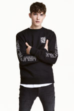 Sweatshirt - Black/Text - Men | H&M 1