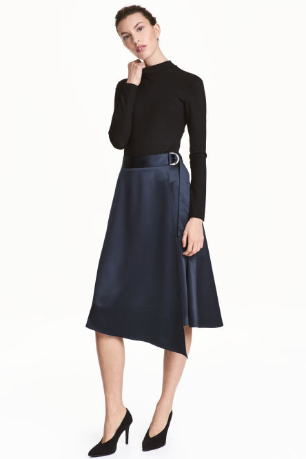 Wrapover satin skirt