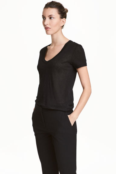 Linen jersey top - Black - Ladies | H&M 1