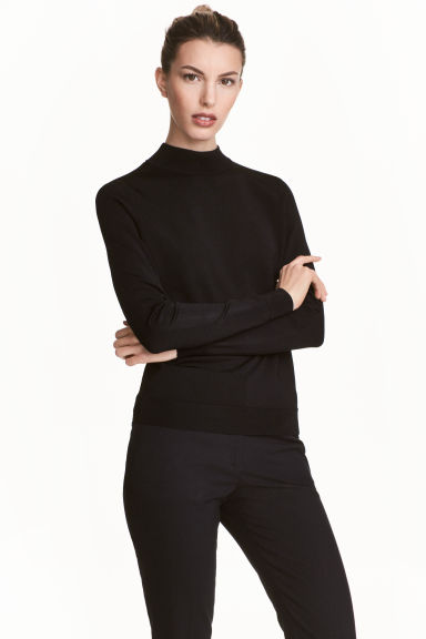 Fine-knit polo-neck jumper - Black - Ladies | H&M CN 1