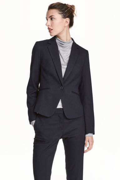 Fitted jacket - Dark blue/Patterned - Ladies | H&M 1