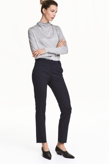 Suit trousers - Dark blue/Patterned - Ladies | H&M CN 1