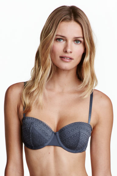 Lace balconette bra - Storm blue - Ladies | H&M 1