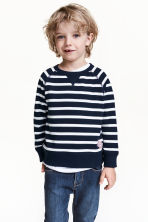 Sweatshirt - Dark blue/Striped -  | H&M CN 1