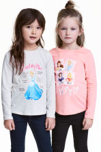 2-pack long-sleeved tops - Light pink/Disney Princesses - Kids | H&M CA 1