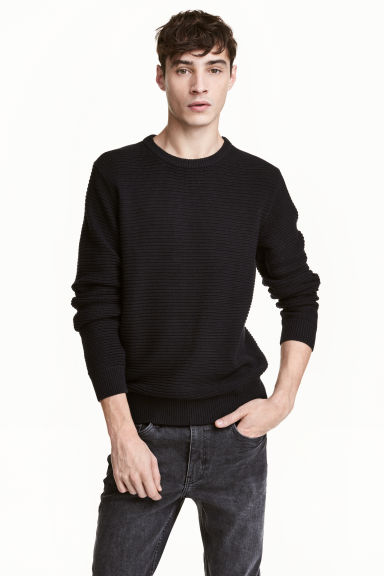 Textured cotton jumper - Black - Men | H&M