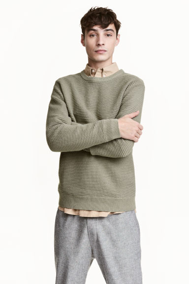 Textured cotton jumper - Light khaki green - Men | H&M CN 1