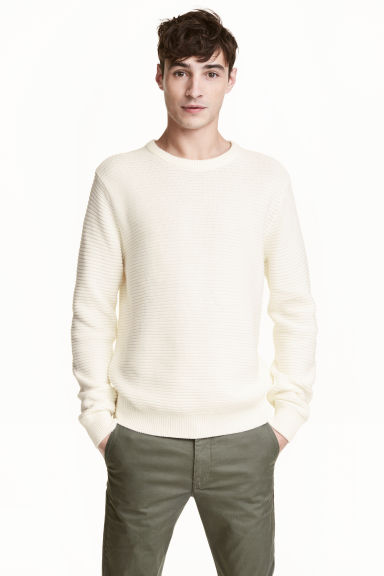 Textured cotton jumper - White - Men | H&M 1