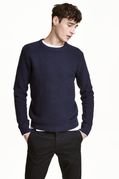 Textured cotton jumper - Dark blue - Men | H&M 1