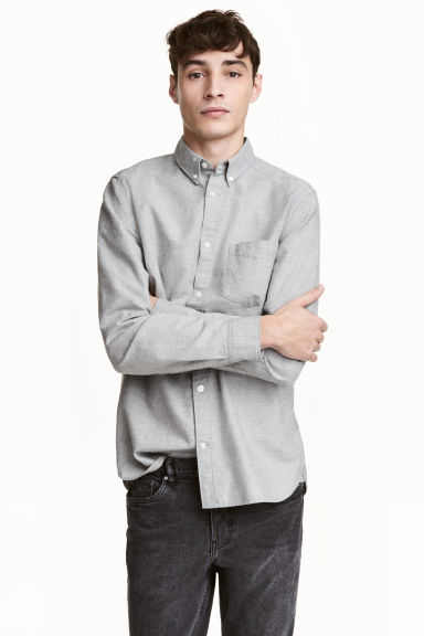 Oxford shirt - Light grey marl - Men | H&M