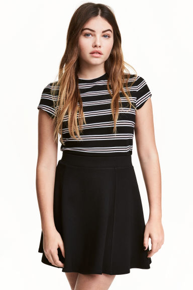 T-shirt - Black/Striped - Ladies | H&M 1