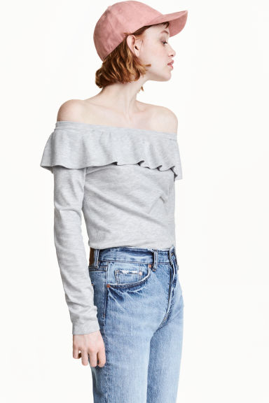 Off-the-shoulder jumper - Grey marl - Ladies | H&M 1