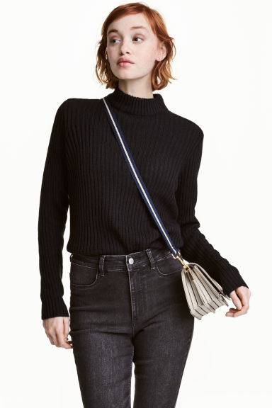 Rib-knit jumper - Black - Ladies | H&M