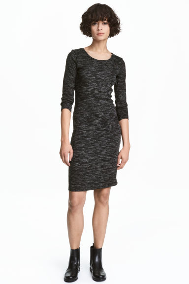 Jersey dress - Black marl - Ladies | H&M CN 1