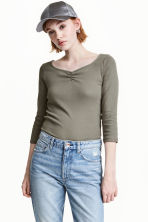 Jersey top - Khaki green - Ladies | H&M 1