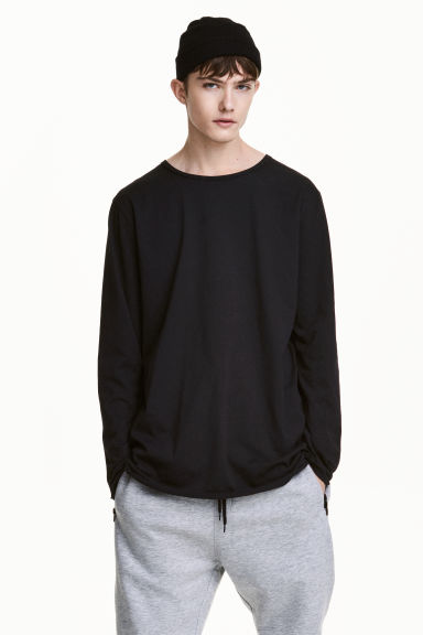 Long-sleeved T-shirt - Black - Men | H&M