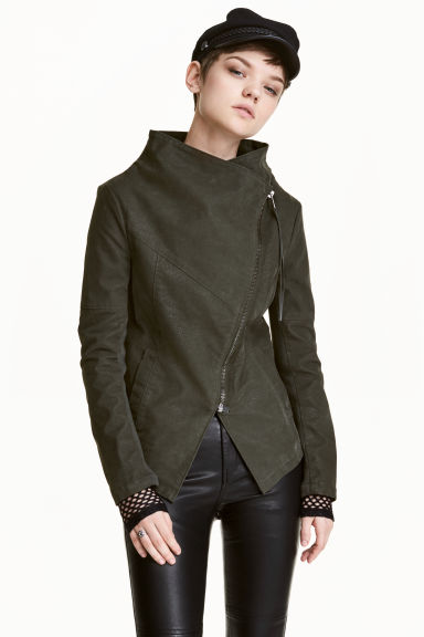 Biker jacket - Khaki green - Ladies | H&M 1