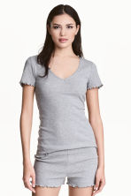 Pyjamas with shorts and top - Grey marl - Ladies | H&M 1