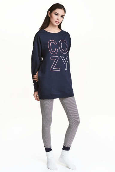Lounge set top and leggings - Dark blue - Ladies | H&M 1