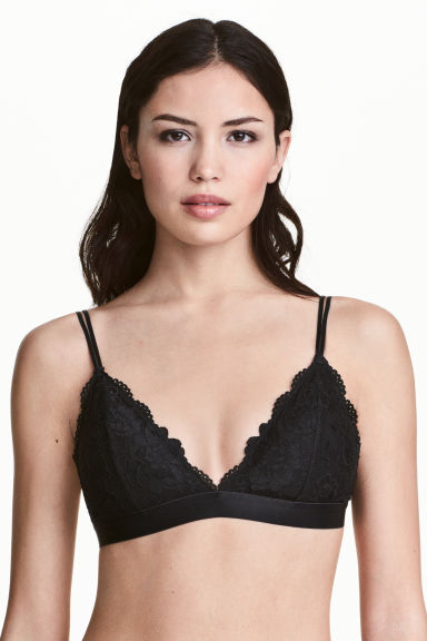 Padded triangle bra - Black - Ladies | H&M 1