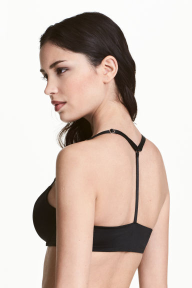 Padded racer-back bra - Black - Ladies | H&M 1