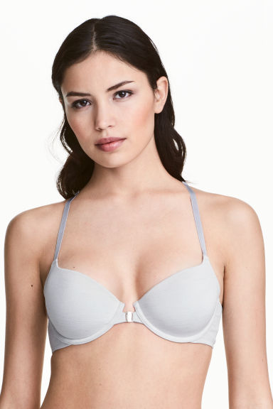 Padded racer-back bra - Grey/Silver - Ladies | H&M CN 1