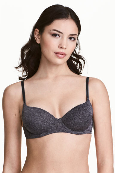 Microfibre T-shirt bra - Dark grey marl - Ladies | H&M 1