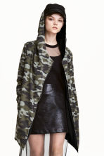 Hooded sweatshirt cardigan - Khaki green/Pattern - Ladies | H&M 1
