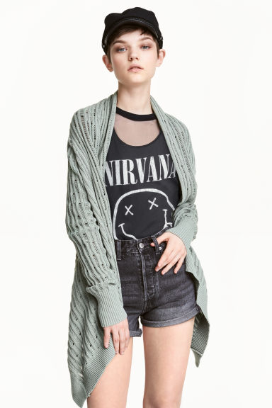 Hole-patterned cardigan - Dusky green - Ladies | H&M CN 1