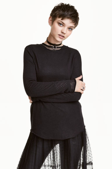 Fine-knit jumper - Black -  | H&M 1