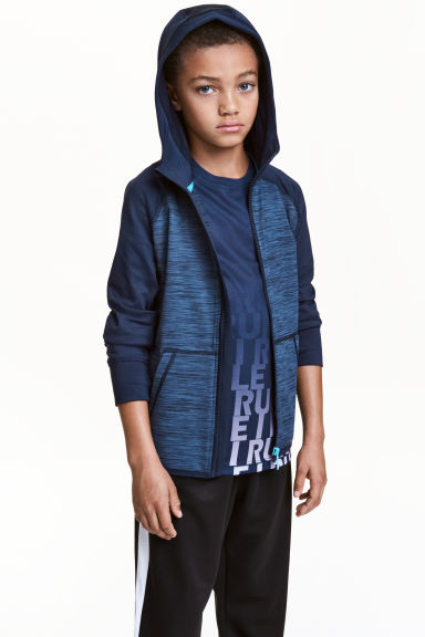 Hooded sports jacket - Dark blue marl - Kids | H&M CN 1