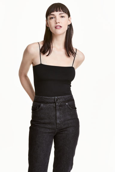 Body with thin shoulder straps - Black - Ladies | H&M 1