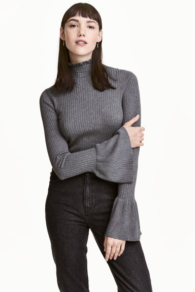 Rib-knit frilled jumper - Dark grey marl - Ladies | H&M 1