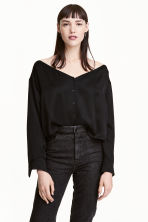 Off-the-shoulder blouse - Black - Ladies | H&M 1