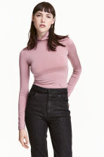Polo-neck top - Powder pink -  | H&M CN 1