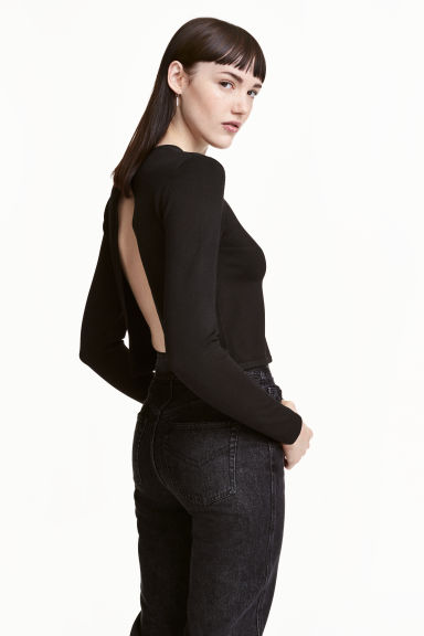 Jumper with a slit - Black - Ladies | H&M 1