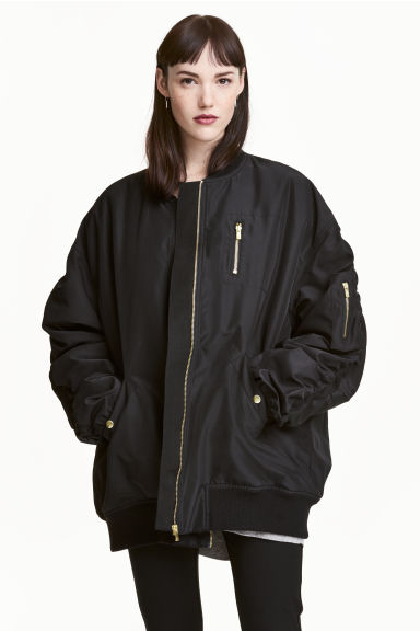 Oversized bomber jacket - Black - Ladies | H&M