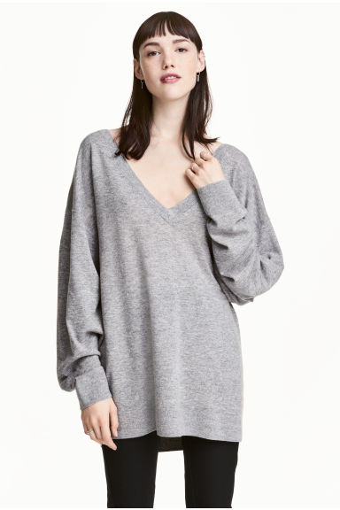 Fine-knit wool-blend jumper - Grey marl - Ladies | H&M CN 1