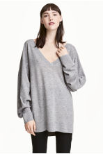 Fine-knit wool-blend jumper - Grey marl - Ladies | H&M 1